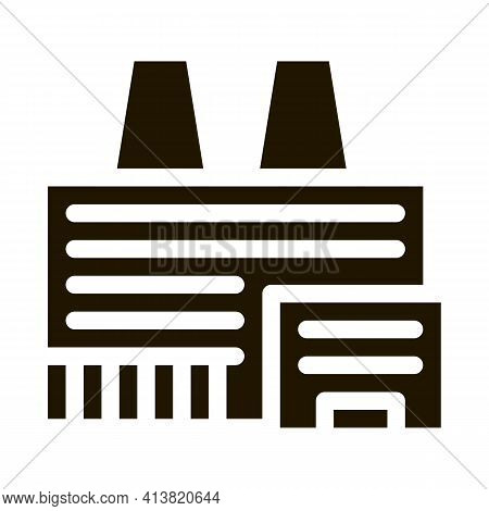 Thermal Station With Plants Glyph Icon Vector. Thermal Station With Plants Sign. Isolated Symbol Ill