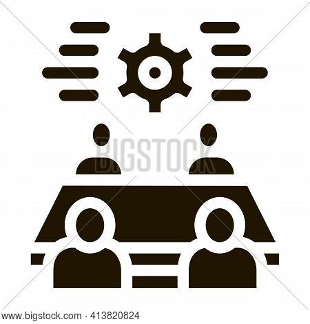 Discussion Of Settings By People Glyph Icon Vector. Discussion Of Settings By People Sign. Isolated