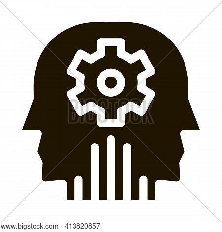 Cerebral Hemisphere Settings Glyph Icon Vector. Cerebral Hemisphere Settings Sign. Isolated Symbol I