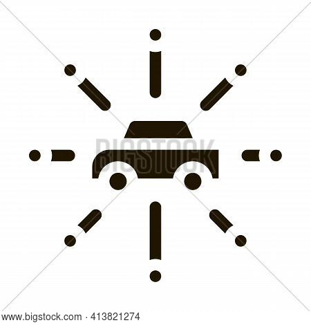 Universal Network Of Cars Glyph Icon Vector. Universal Network Of Cars Sign. Isolated Symbol Illustr