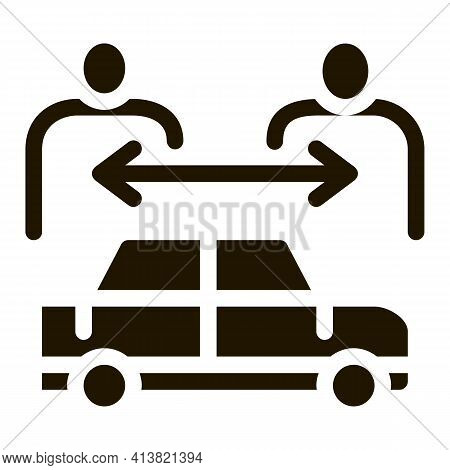 Two Buyers Per Car Glyph Icon Vector. Two Buyers Per Car Sign. Isolated Symbol Illustration