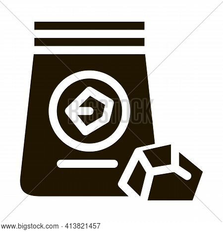 Coal In Bag Glyph Icon Vector. Coal In Bag Sign. Isolated Symbol Illustration