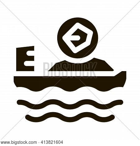 Mobile Boat With Coal Glyph Icon Vector. Mobile Boat With Coal Sign. Isolated Symbol Illustration