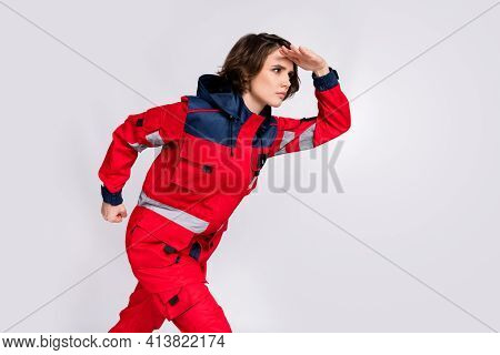 Photo Of Serious Focused Concentrated Girl Paramedic Look Copyspace Rescue People Isolated On Grey C