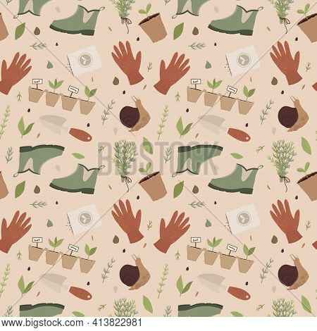 Garden Seamless Pattern. Gardening Tools And Supplies.