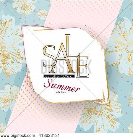 Summer Sale Banner Elegant Beauty Luxury Golden Sale Text On A Flowers Specks Background Luxury Them