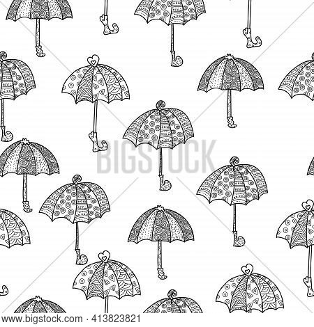 Doodle Umbrellas Seamless Pattern With Ornate Lines And Curls, Open Contour Fantasy Umbrellas On A W