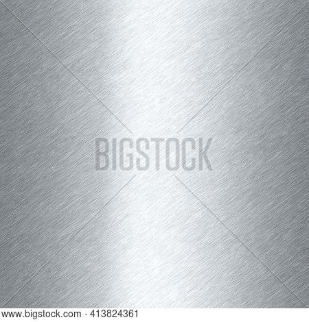 Shiny Brushed Metal Background Texture. Polished Metallic Steel Plate. Sheet Metal Glossy Shiny Silv