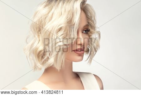 Beautiful Model Girl With Short Hair .beauty Woman With Blonde Curly Hairstyle Dye .fashion, Cosmeti