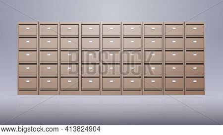 Office Wall Of Filing Cabinet Document Data Archive Storage Folders For Files Business Administratio