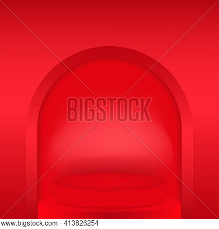 Round Presentation Arch Niche. Deepening In The Wall In The Form Of An Arch. You Can Edit The Backgr
