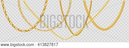 Gold Chain Isolated. Vector Necklace On White Background