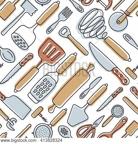 Kitchen Knolling Seamless Pattern. Kitchenware Sketch Set. Doodle Line Vector Utensils, Tools And Cu