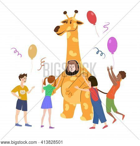 Holiday Party Actors Entertainer Wearing In Costume Giraffe, Play With Kids. Performance Birhday Car