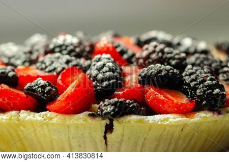 Butter Enriched Shortcrust Pastry Topped Strawberries And Blackberries, Seasonal Cake With Colorful