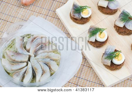 Herring And Canapes With It