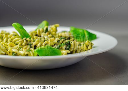 Pesto And Pine Nut Pasta Salad, Fusilli Pasta With Regato Cheese And Baby Spinach Coated In Basil Pe