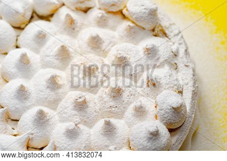 Lemon Meringue Pie, Butter Enriched Shortcrust Pastry Filled With Creamy Lemon And Topped With Merin