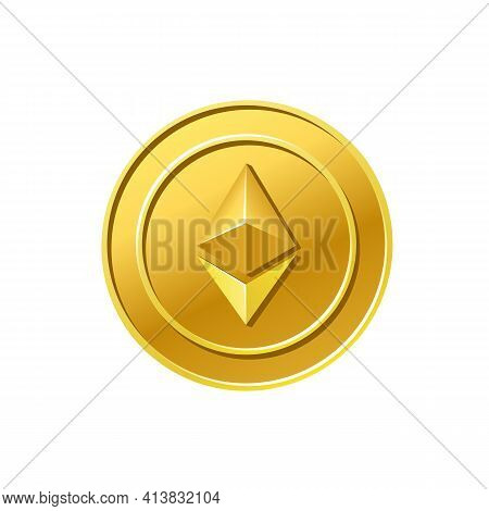 Ethereum Crypto Currency Golden Ethereum Coin Icon