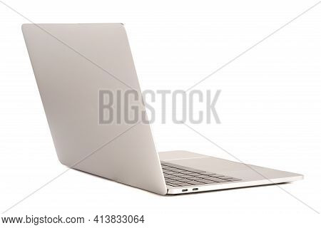 Isolated Of Laptop Computer With White Screen For Mockup On White Background And Clipping Path.