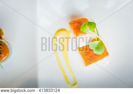 Cold Appetiser Platter Of Crispy Roasted Pork With Yellow Mustard On The Side
