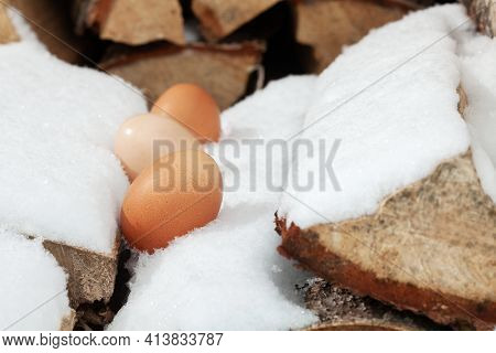 Chicken Eggs In The Snow. A Modern Composition About Village Life.