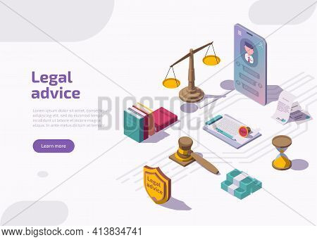 Legal Advice Or Advocate Attorney Service Isometric Landing Page