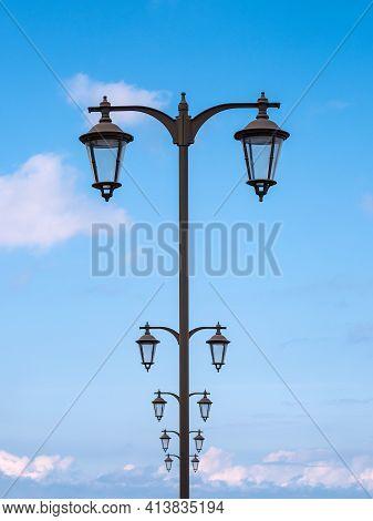 Lantern On The Baltic Sea Coast In Warnemuende, Germany.