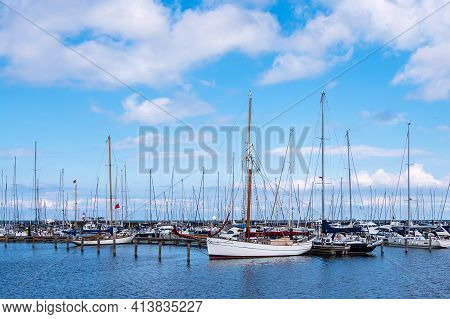 Marina On The Baltic Sea Coast In Warnemuende, Germany.