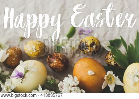 Happy Easter Greeting Card. Happy Easter Text Sign Handwritten On  Modern Yellow Easter Eggs With Sp