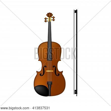 Violin With A Bow, String Musical Instrument. Vector Illustration Isolated On White Background