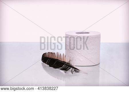 A Roll Of Soft Toilet Paper Next To A Bird's Feather, A Symbol Of Gentle Touch. Front View, Copy Spa