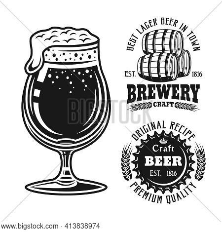 Beer Glass And Two Brewery Emblems, Badges, Labels Or Logos Set Of Vector Elements Isolated On White