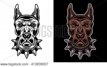 Dog Head In Spiked Collar Front View Vector Two Styles Illustration Black On White And Colored On Da