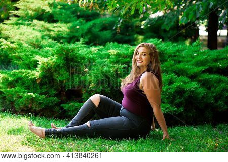 Young Beautiful Plus Size Model Outdoors, Xxl Woman On Nature
