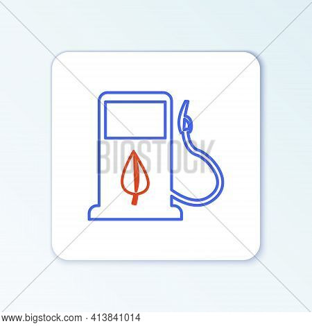 Line Bio Fuel Concept With Fueling Nozzle And Leaf Icon Isolated On White Background. Gas Station Wi