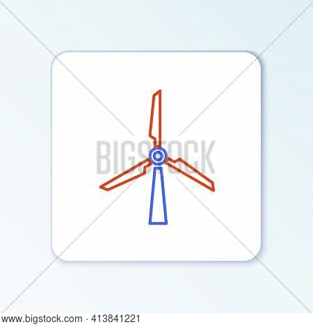 Line Wind Turbine Icon Isolated On White Background. Wind Generator Sign. Windmill Silhouette. Windm