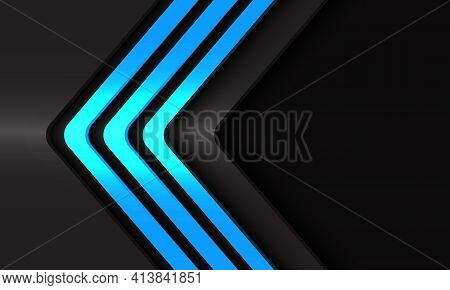 Abstract Blue Light Neon Arrow Lines Direction On Dark Grey Metallic Whit Black Blank Space Design M