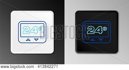 Line Thermostat Icon Isolated On Grey Background. Temperature Control. Colorful Outline Concept. Vec