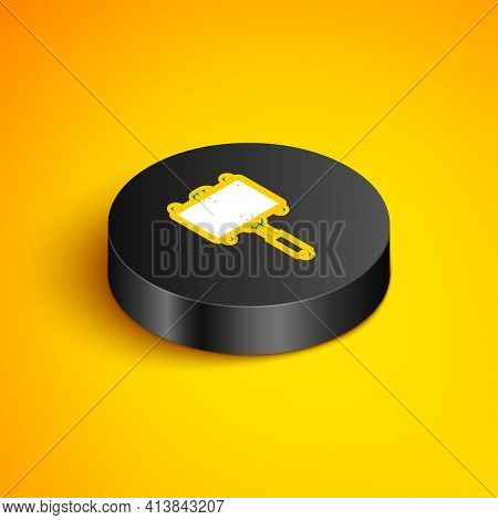 Isometric Line Barbecue Steel Grid Icon Isolated On Yellow Background. Top View Of Bbq Grill. Wire R