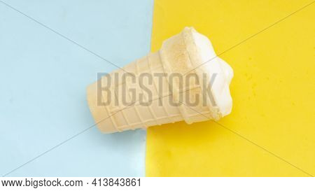 Waffle Cup Of Cream Ice Cream On Pastel Blue Yellow Background.traditional Russian Ice-cream