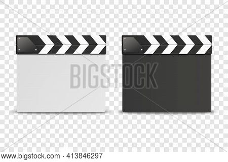 Vector 3d Realistic Closed White And Black Movie Film Clap Board Icon Set Closeup Isolated On Transo