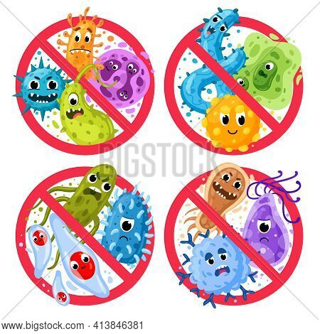 Bacterial Protection. Germs In Ged Round Prohibition Signs, Disinfection And Epidemic Prevention Ico