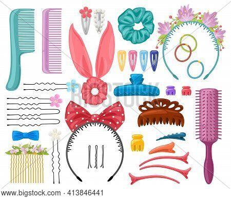 Hair Accessories. Woman Hair Items, Hair Clips, Hairpins, Hairband And Hair Grips, Female Hair Tools