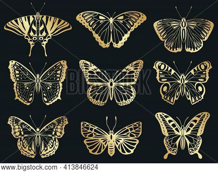 Golden Butterflies. Shiny Gold Decorative Butterflies Silhouettes, Beautiful Insect Wings Vector Ill