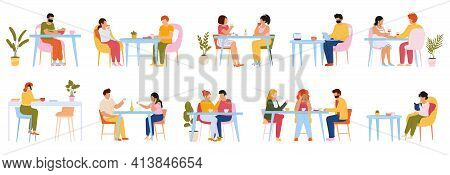 Eating People. Men And Women Eating Meal In Cafeteria, At Home Or Restaurant, Characters Dining Toge