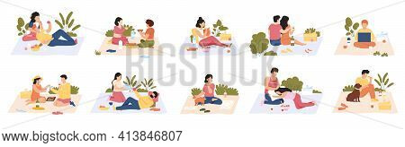 People At Picnic. Outdoor Meals, Men And Women Eating Delicious Food On Nature. Summer Picnic Recrea