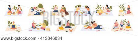 Picnic In Park. Friends And Couples At Picnic, Outdoor Nature Recreation, People Having Lunch Togeth