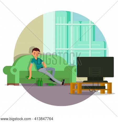 Drunk Man Sitting On Sofa With Beer Bottles, Flat Vector Illustration. Alcohol Abuse And Addiction.