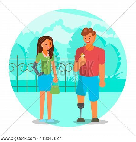 Couple With Leg And Arm Prosthetics, Flat Vector Illustration. Disabled People Lifestyle, Relationsh